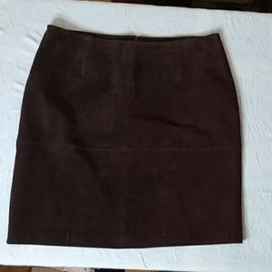 Newport News/ Brown 100% Leather Suede Skirt/ 18W